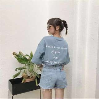 韓版百搭字母印花chic風寬鬆T恤 #換季五折