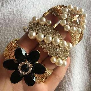 Diamond & Pearl Gold Bangle Bracelet Fashion Jewelry - adjustable