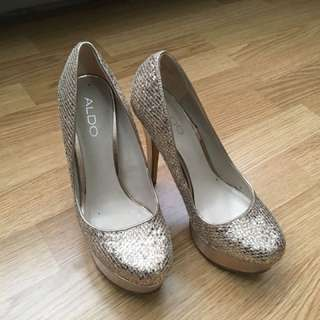 Gold sequin heels