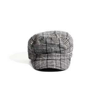 🚚 黑白格紋貝蕾帽