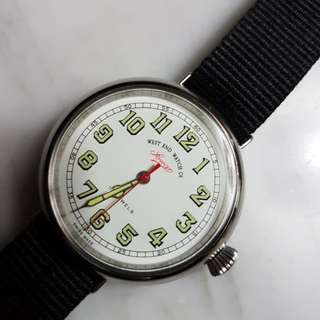 Vintage 1950's West End Watch Co Militant XL 17J Hand Wind Men Watch.