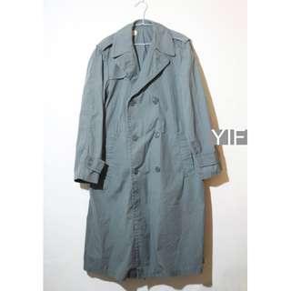公發真品 美國海軍陸戰隊 USMC 軍綠色雙排扣長大衣 全天候風衣雨披 軍用 38L號 vintage 古著 越戰 韓戰 冷戰