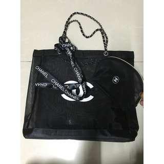 Chanel 贈品Handbag 黑色+白色CC網紗錬帶手袋+化妝袋套裝 Shopping Bag