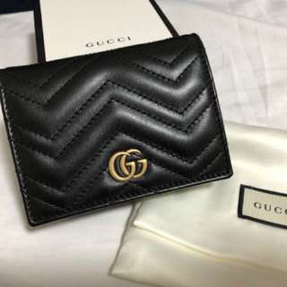 Gucci Black GG Marmont Card Case Small Wallet 細銀包 Coins