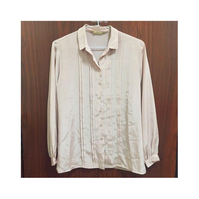 藕粉色古著襯衫