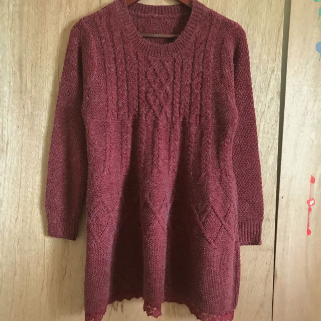 酒紅麻灰針織長版上衣森林系毛衣洋裝