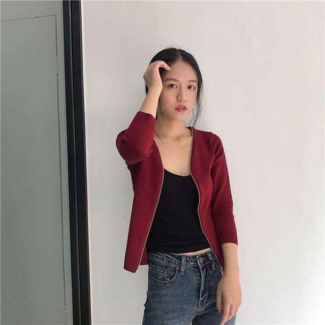 酒紅色個性七八分袖修身針織外套