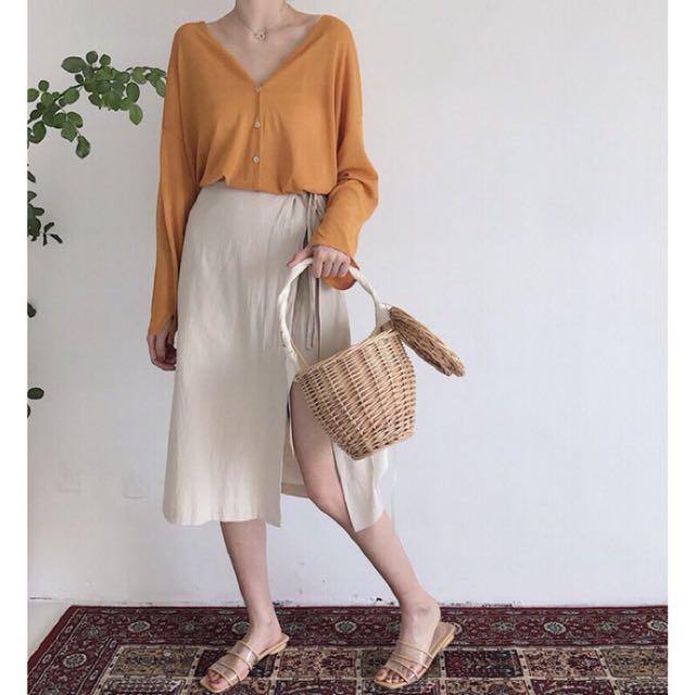 (現貨)鬆緊腰側開叉純色綁帶半身裙