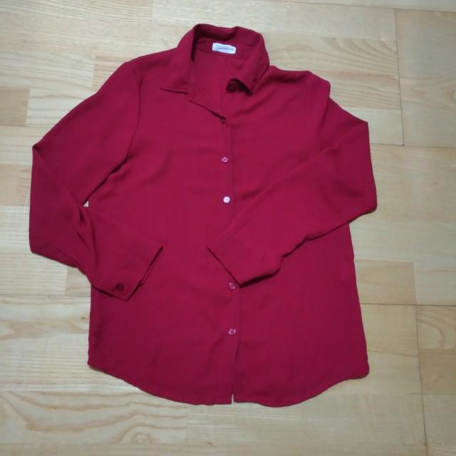 暗紅色雪紡襯衫#我的女裝可超取