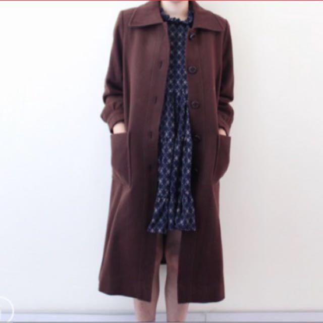 (降)古著泡泡袖毛呢咖啡色大衣外套