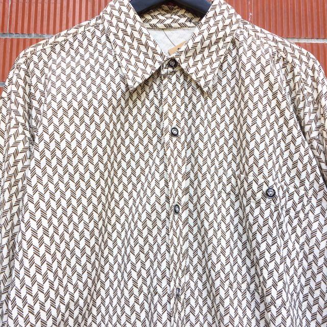 顛復古⚡️復古普普風交錯線條紋路燈芯絨古著長袖襯衫❤️男女皆可