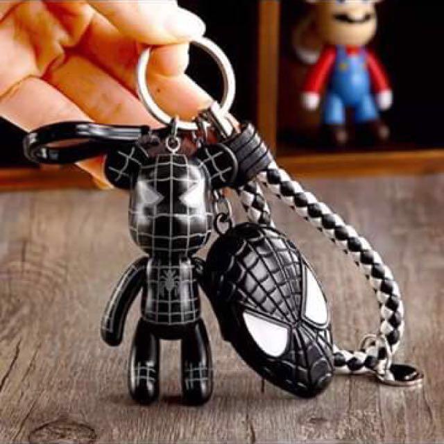 黑蜘蛛熊+黑蜘蛛盾+黑白皮繩鑰匙圈#幫你省運費