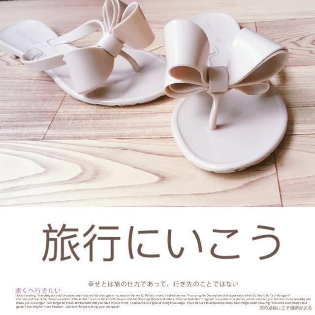 立體蝴蝶結時尚韓版潮平底平跟人字拖防滑涼拖鞋#幫你省運費