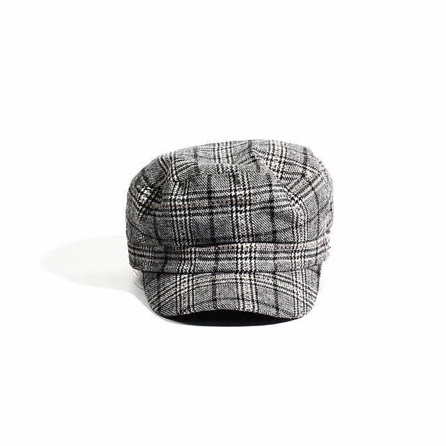 黑白格紋貝蕾帽