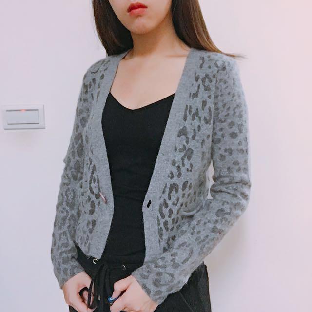 韓製豹紋兔毛短版針織外套