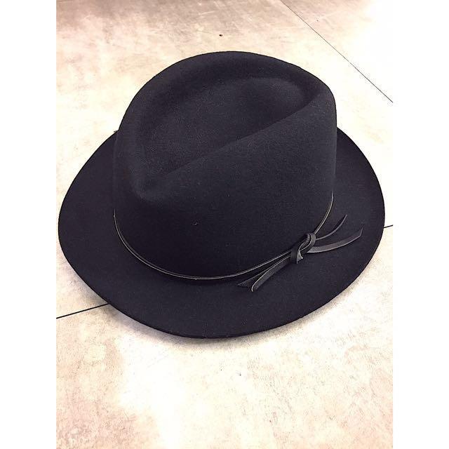 正韓百搭黑色羊毛紳士帽