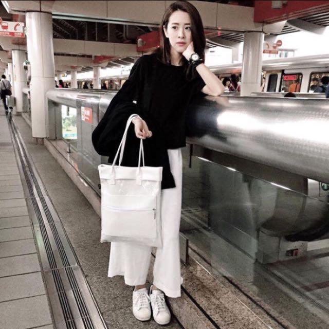 純棉白色寬褲 韓國製 原價1480