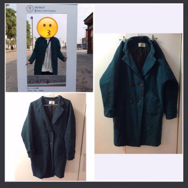 綠色復古中長版大衣外套 #我的女裝可超取