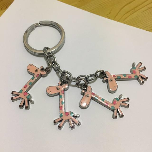 全新 粉色系長頸鹿鑰匙圈 吊飾 #限時免運費
