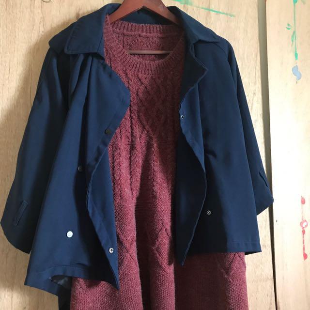 深藍斗篷外套藏青傘擺雪紡A字風衣短版後長外套