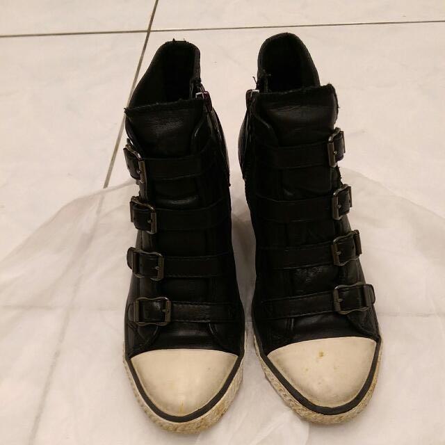 ASH黑色小羊皮高筒腳踝靴