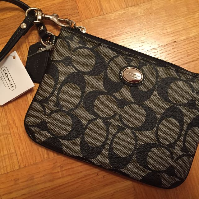 Authentic Coach monogrammed wristlet