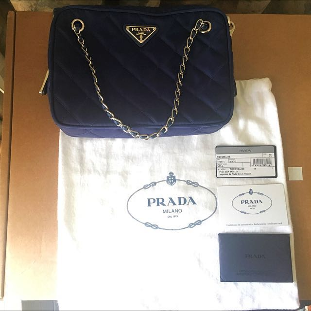 e080df08a8e33 Authentic Prada Tessuto Impuntu Crossbody Bag, Luxury, Bags ...