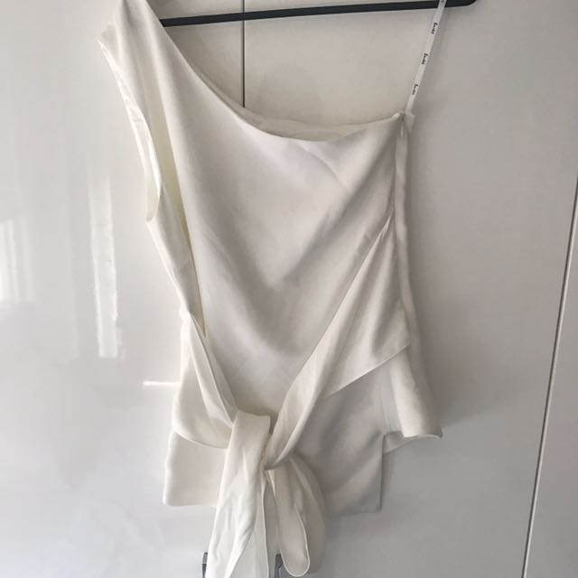 Bardot white one shoulder top
