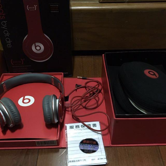 Beats by dr.dre solo 魔聲 耳機 耳罩式耳機 紅
