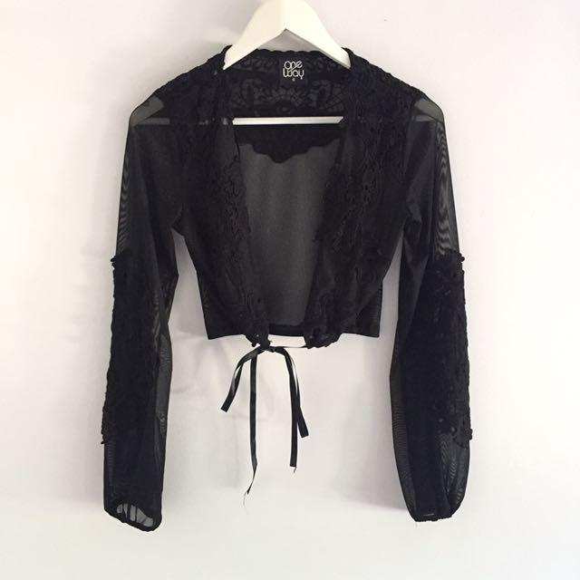Black Mesh Lace Long Sleeve