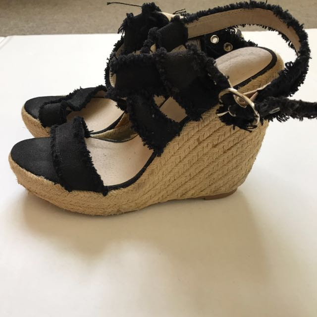 Black Strapped Wedges