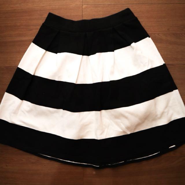 Black Striped Skater Skirt