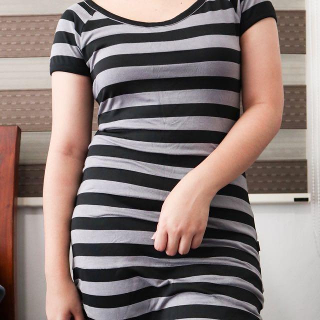Black Stripes Bodycon Dress