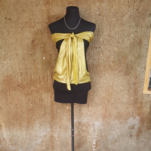 Black tube dress with gold details