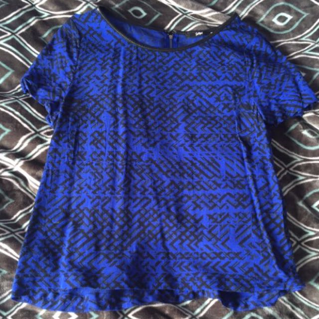 Blue and black nice pattern casual or dressy top