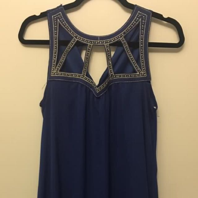 Blue Dress with Gold Neck Cut Outs - Size S