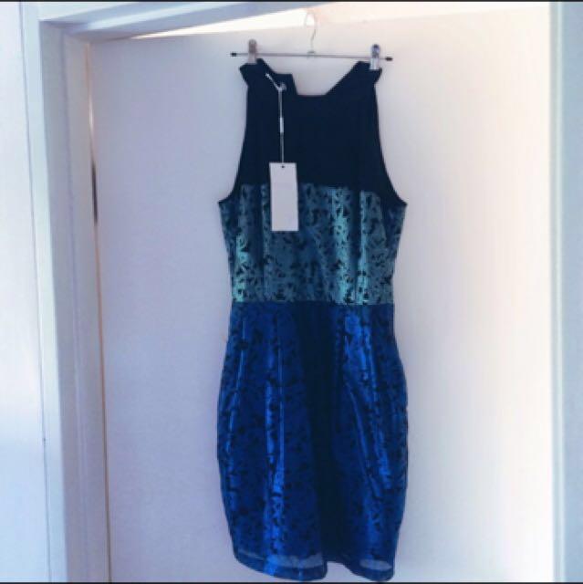 Blue green formal Cocktail Dress mossman