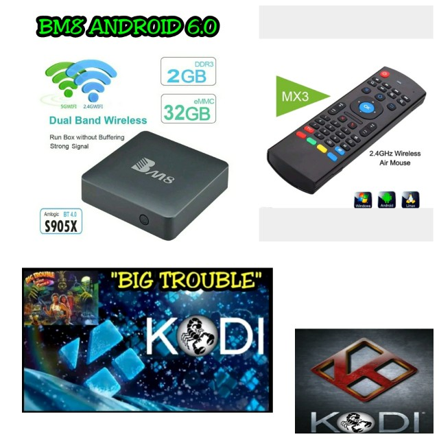 BM8 ANDROID 6.0 SMART TV BOX 2GB+16GB AND MX3 WIRELESS AIR MOUSE REMOTE CONTROL