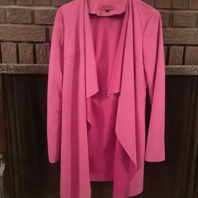Boohoo Pink Seude Cardigan Size s/m