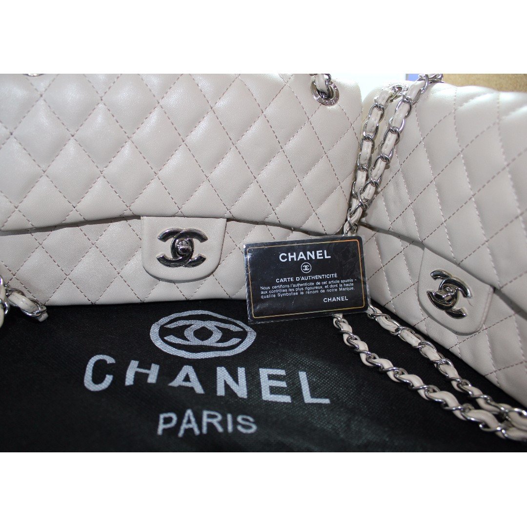 Chanel Creme Quilted Leather Bag