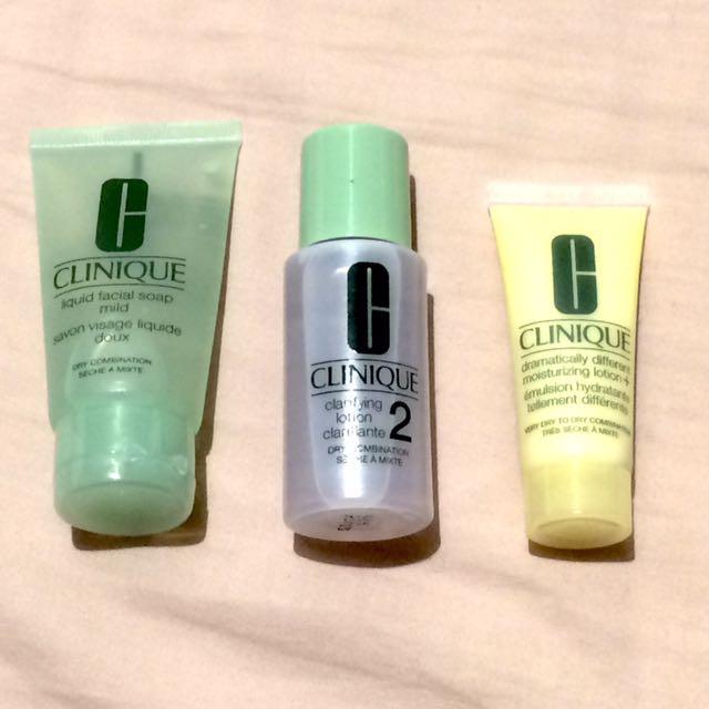 Clinique Soap, lotion/toner, moisturizer