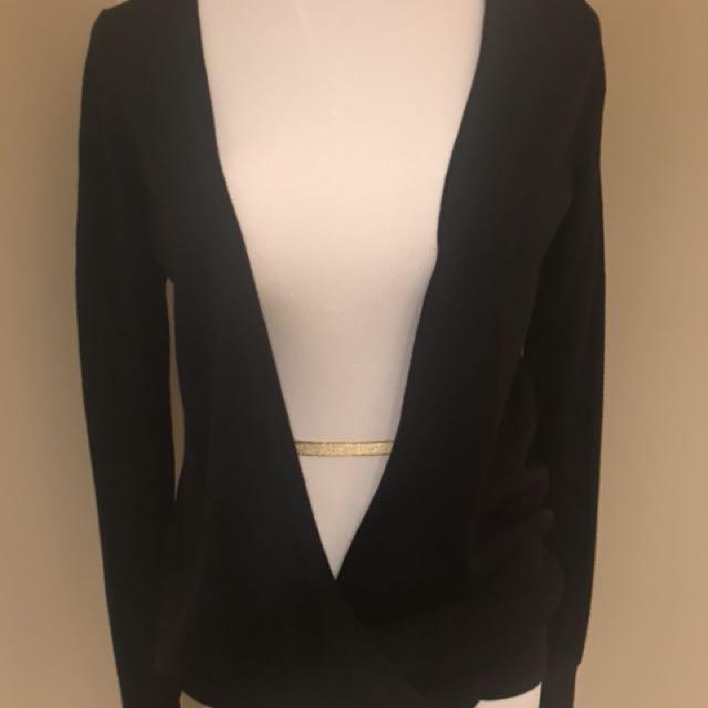 Club Monaco draped open front black sweater. 100% wool Sz S