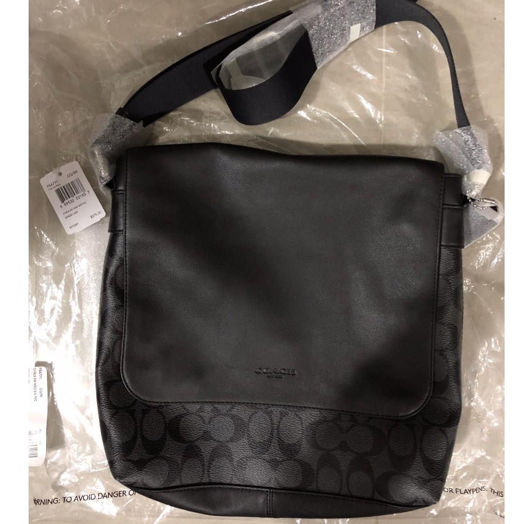 cb69fa4967a0 Coach F54771 Men s Charles Small Messenger Signature Bag Charcoal ...