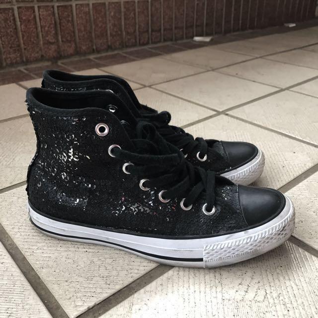 Converse短筒霧黑亮片拼亮銀亮片個性帆布鞋23.5/24號