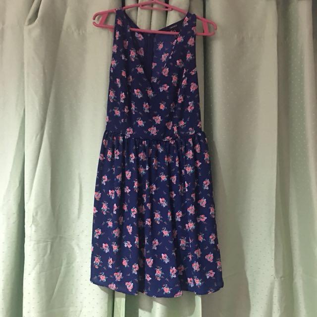 dark blue floral forever21 dress
