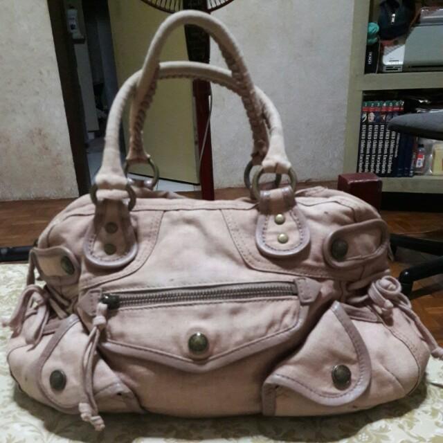 DKNY Genuine Leather Canvas Handbag