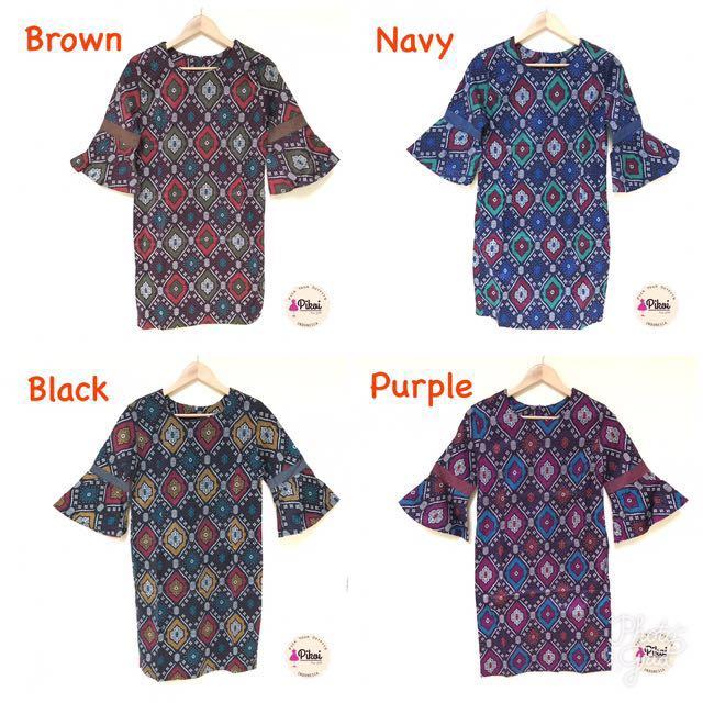 Dress Batik Modern Wanita Kantor   Dress Lengan Trompet   Batik Kerja  Seragam   794 cf38a73a5b