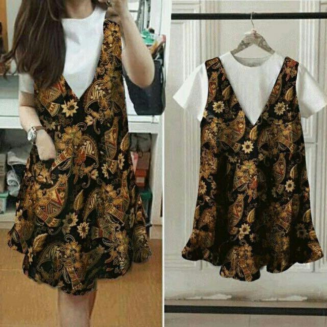 Dress Overall Batik Wanita Fit To L Olshop Fashion Olshop Wanita