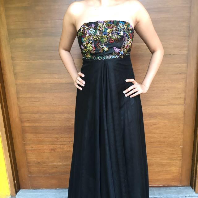 Dress Pesta Hitam Panjang Luire- reprice