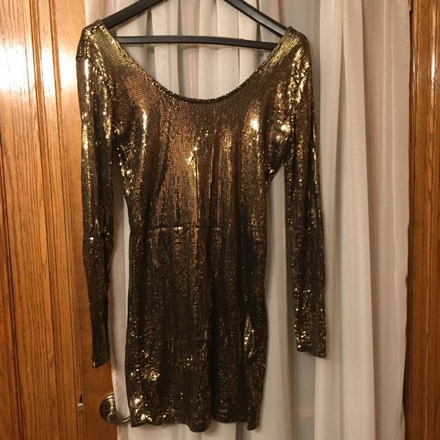 Dynamite Sequin Gold Dress Size L